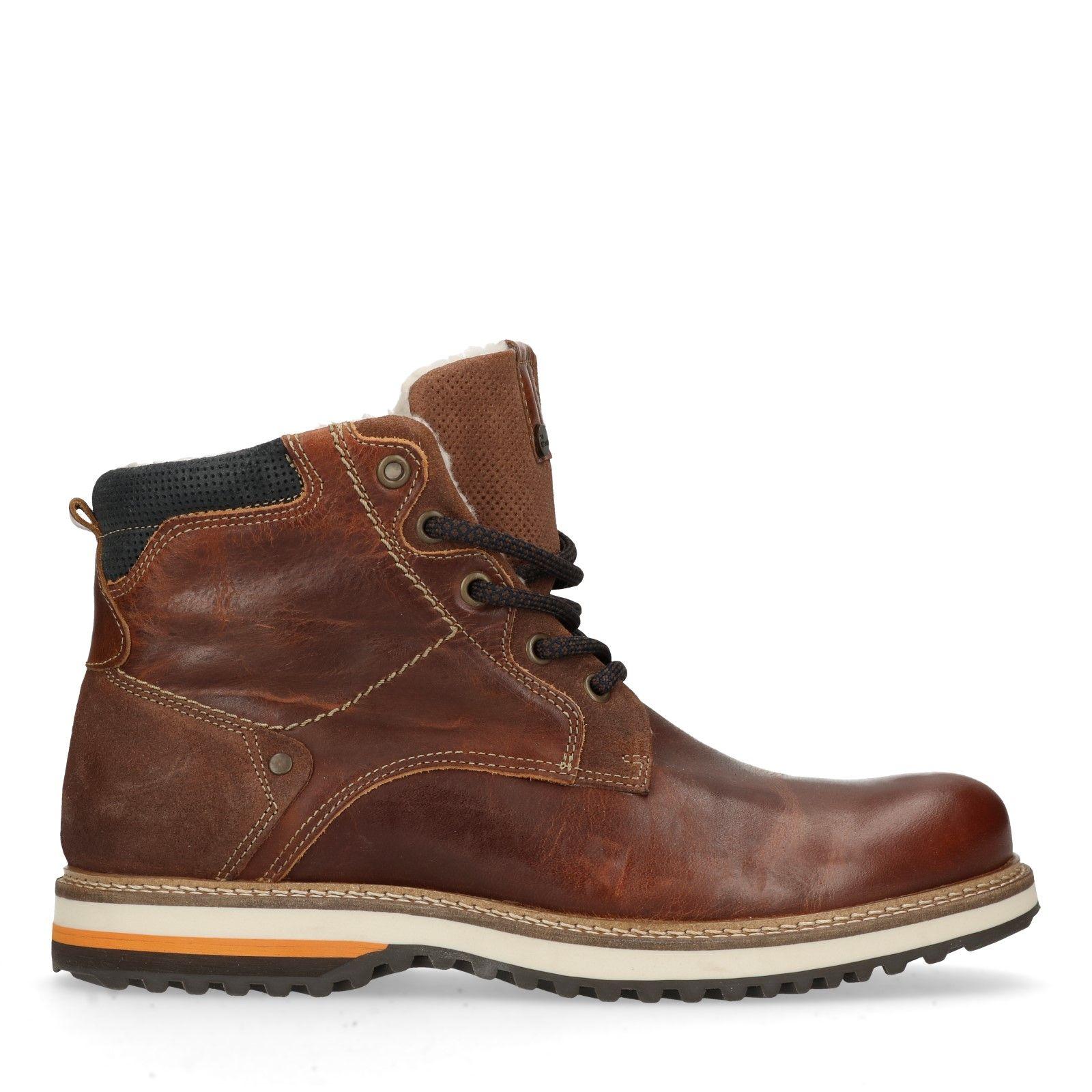 Cognac leren worker boots met imitatiebont Heren   MANFIELD