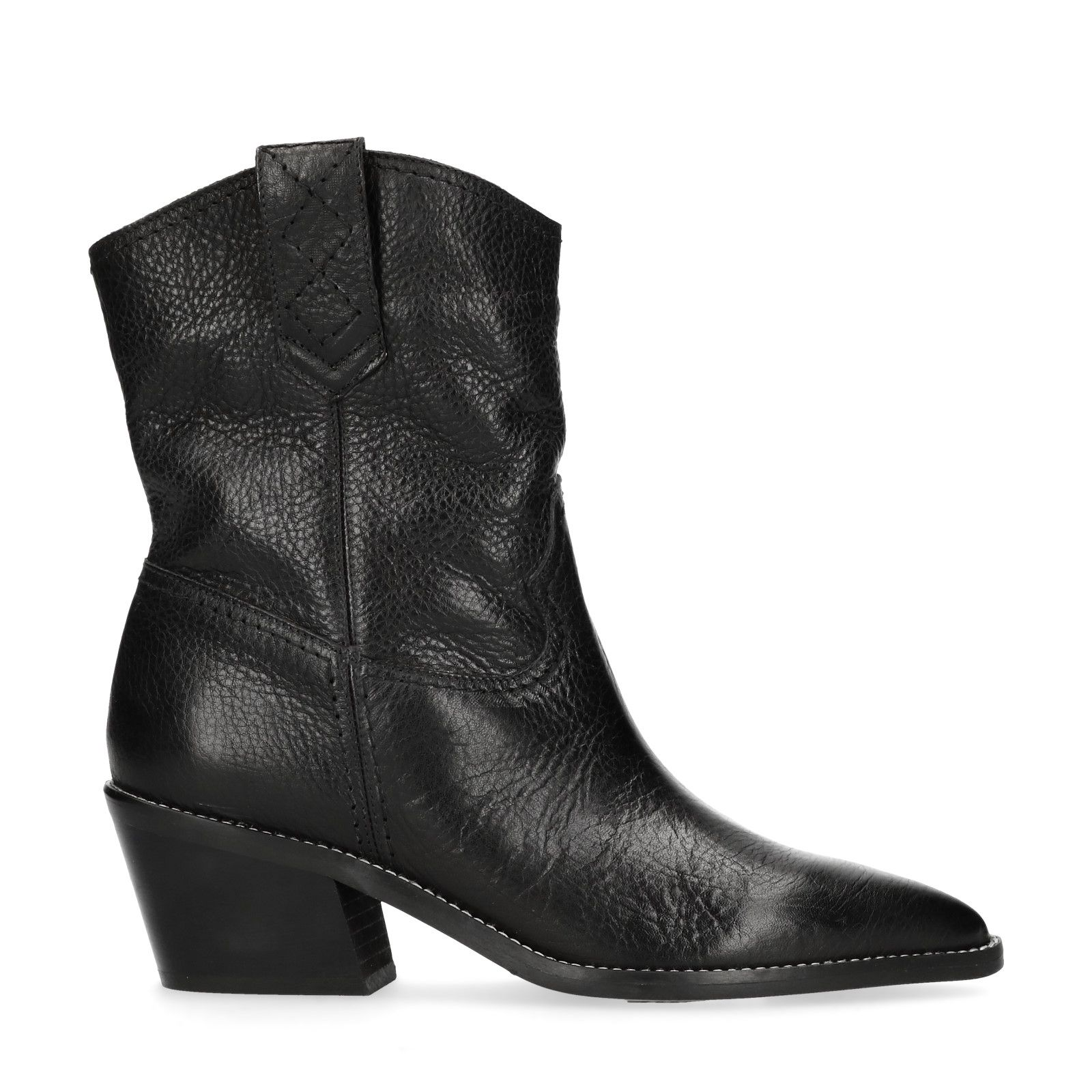 Zwarte korte cowboylaarzen Dames | MANFIELD
