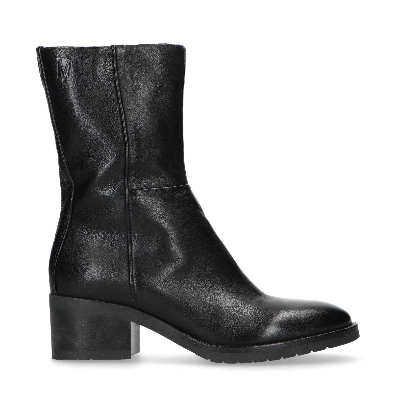 Zwarte korte laarzen met lage hak Dames | MANFIELD