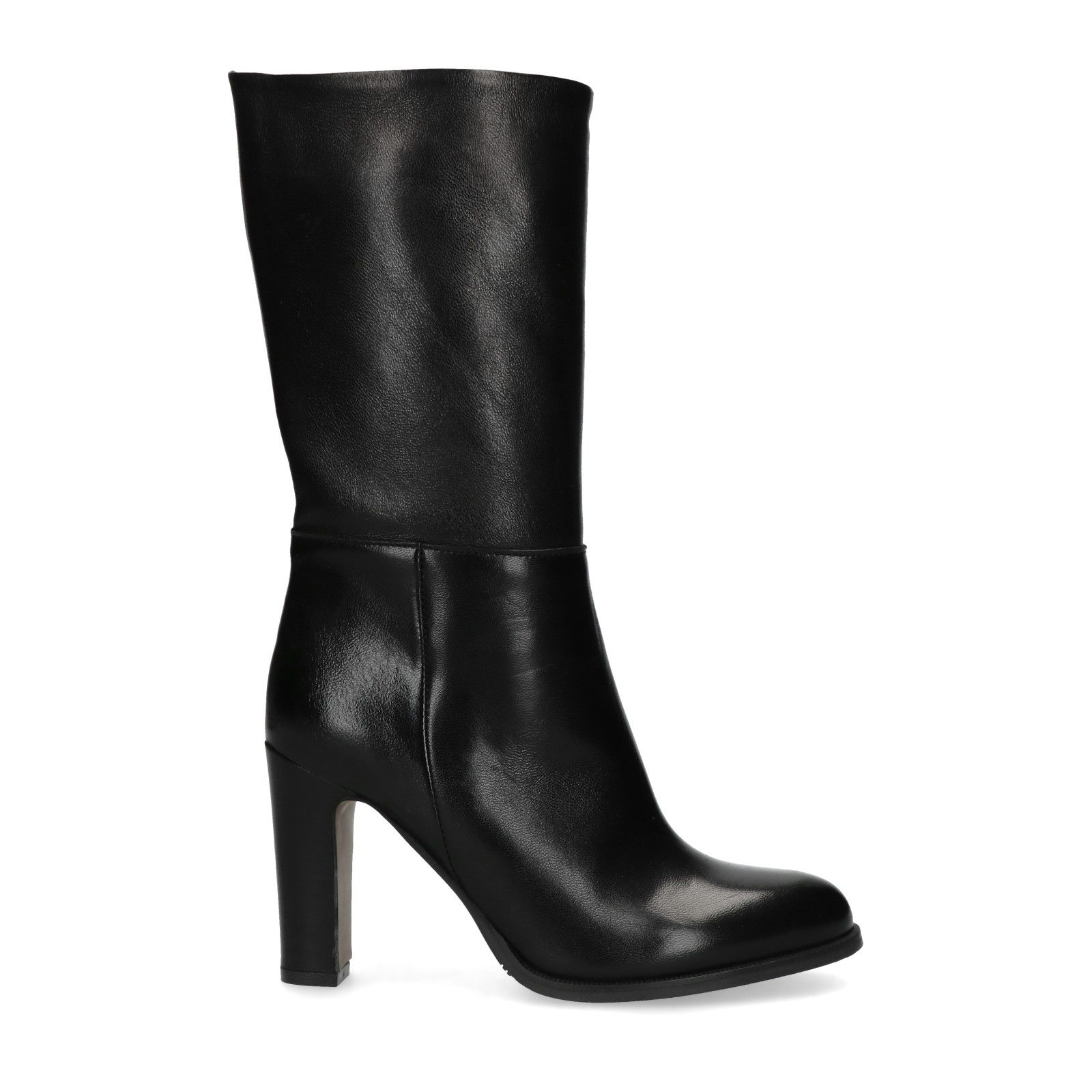 Zwarte leren hoge laarzen met hak Dames | MANFIELD
