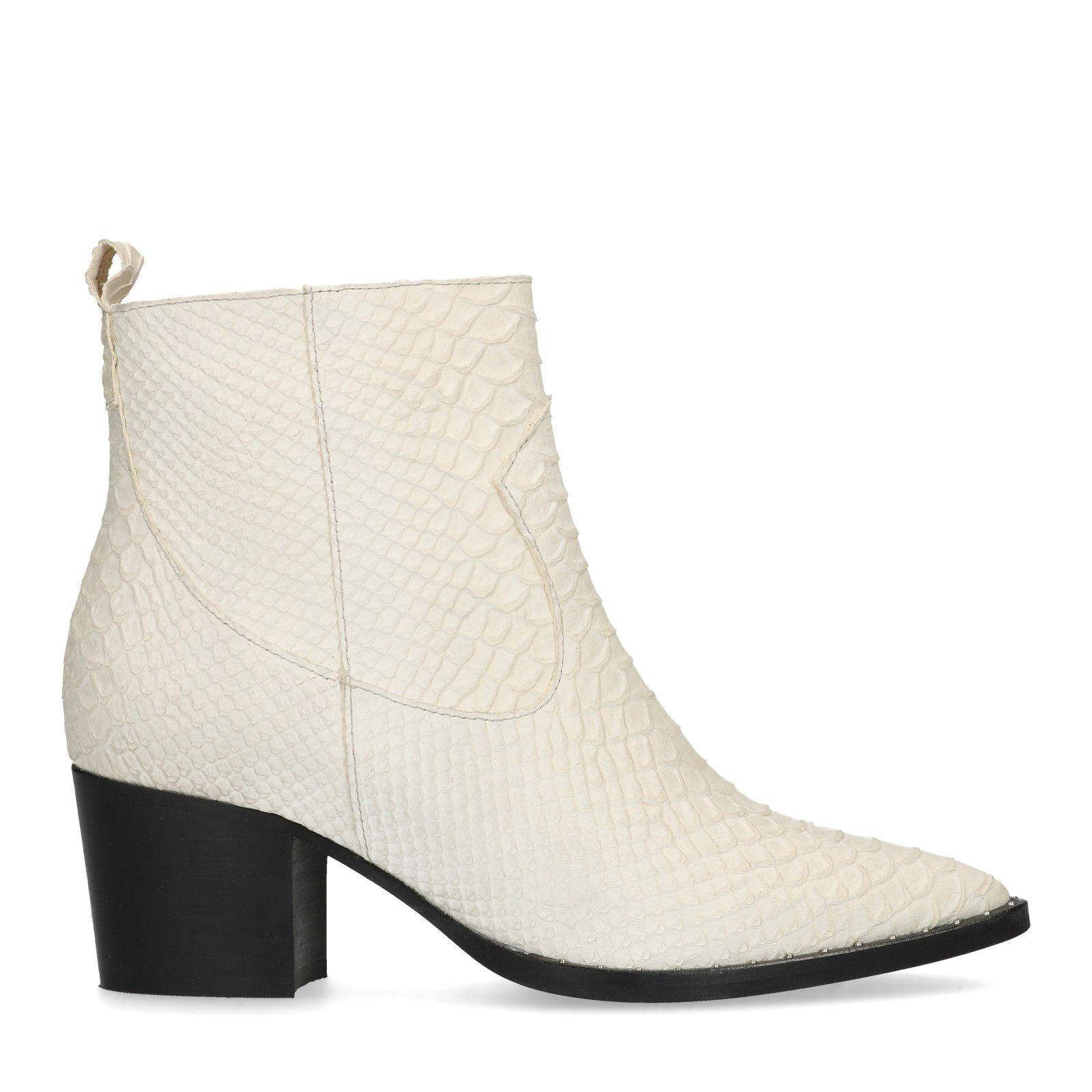 Witte enkellaarsjes met crocoprint Dames | MANFIELD