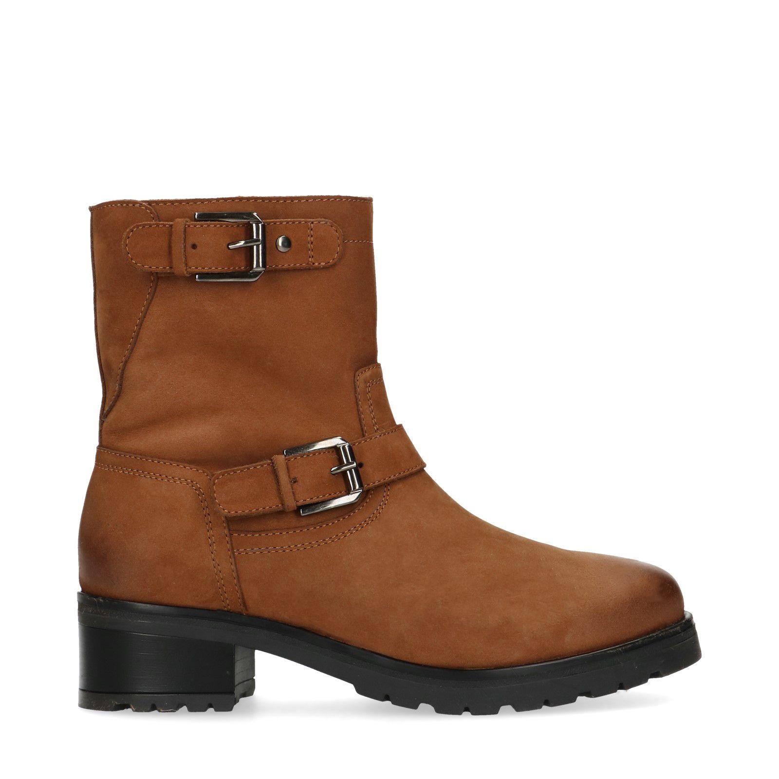 Cognac leren boots met gespen en imitatiebont Dames   MANFIELD