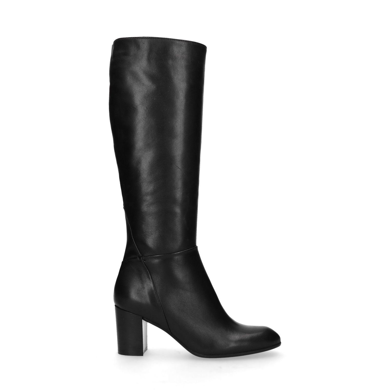 Zwarte leren hoge laarzen met hak Dames   MANFIELD