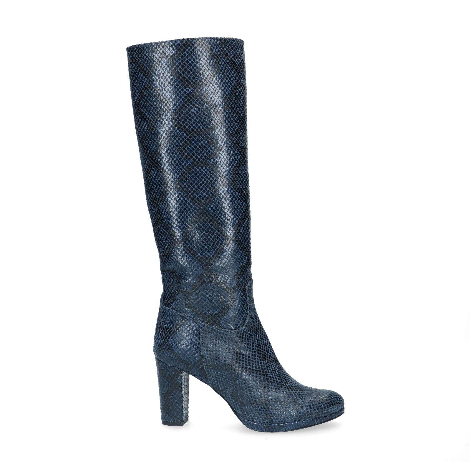 Blauwe leren laarzen met snakeskin Dames | MANFIELD
