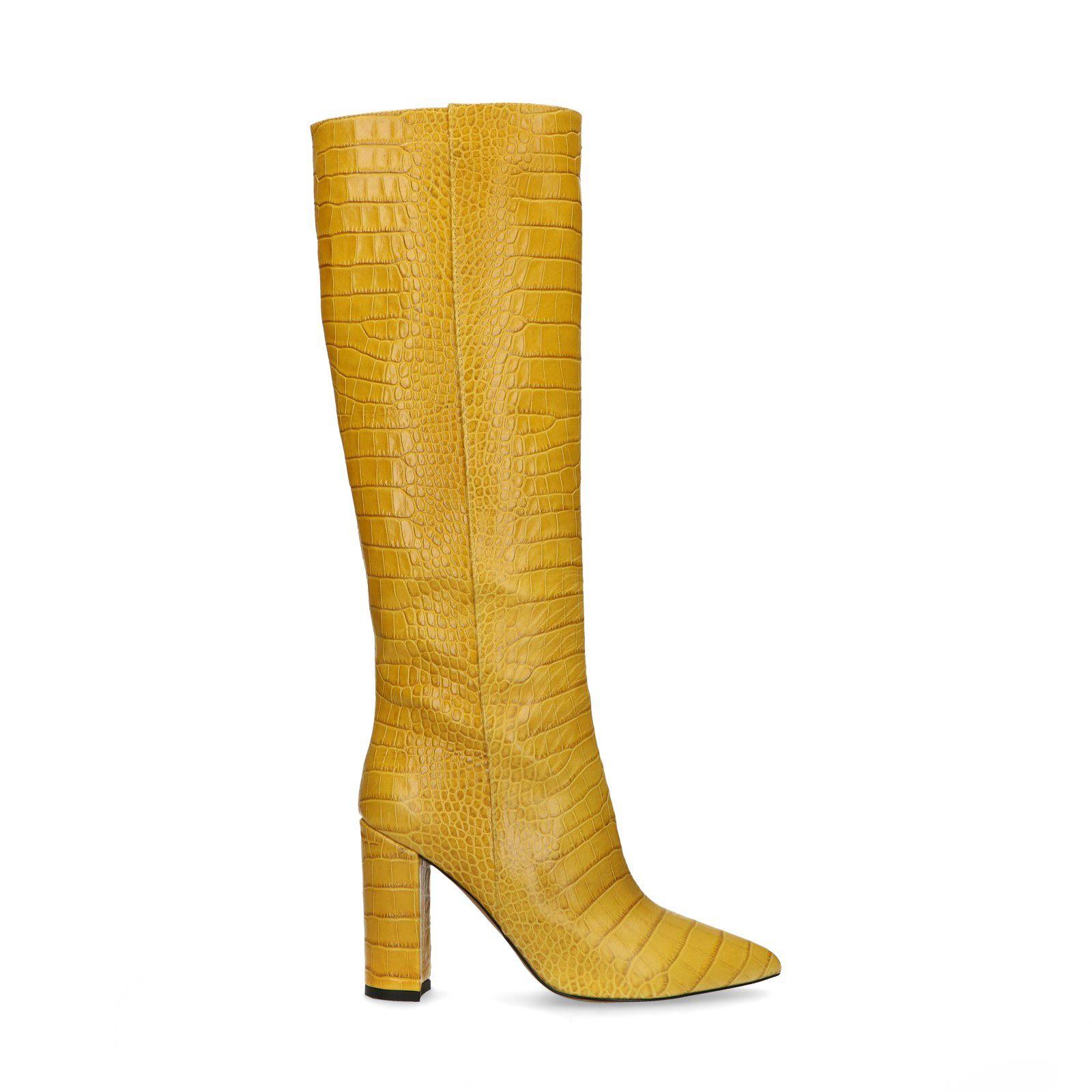 Hoge gele laarzen met crocoprint Dames | MANFIELD