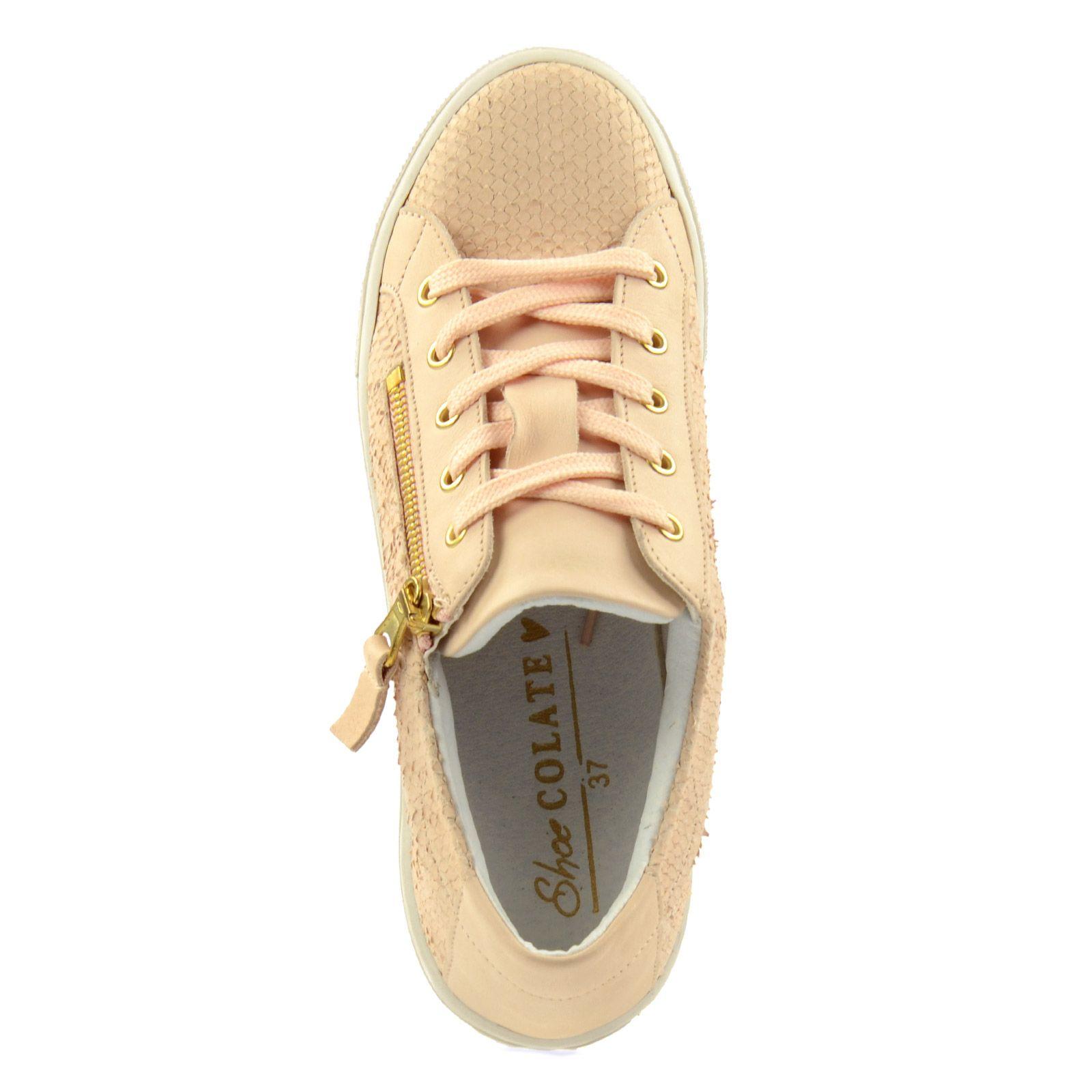 Roséfarbene Sneaker mit Reißverschluss
