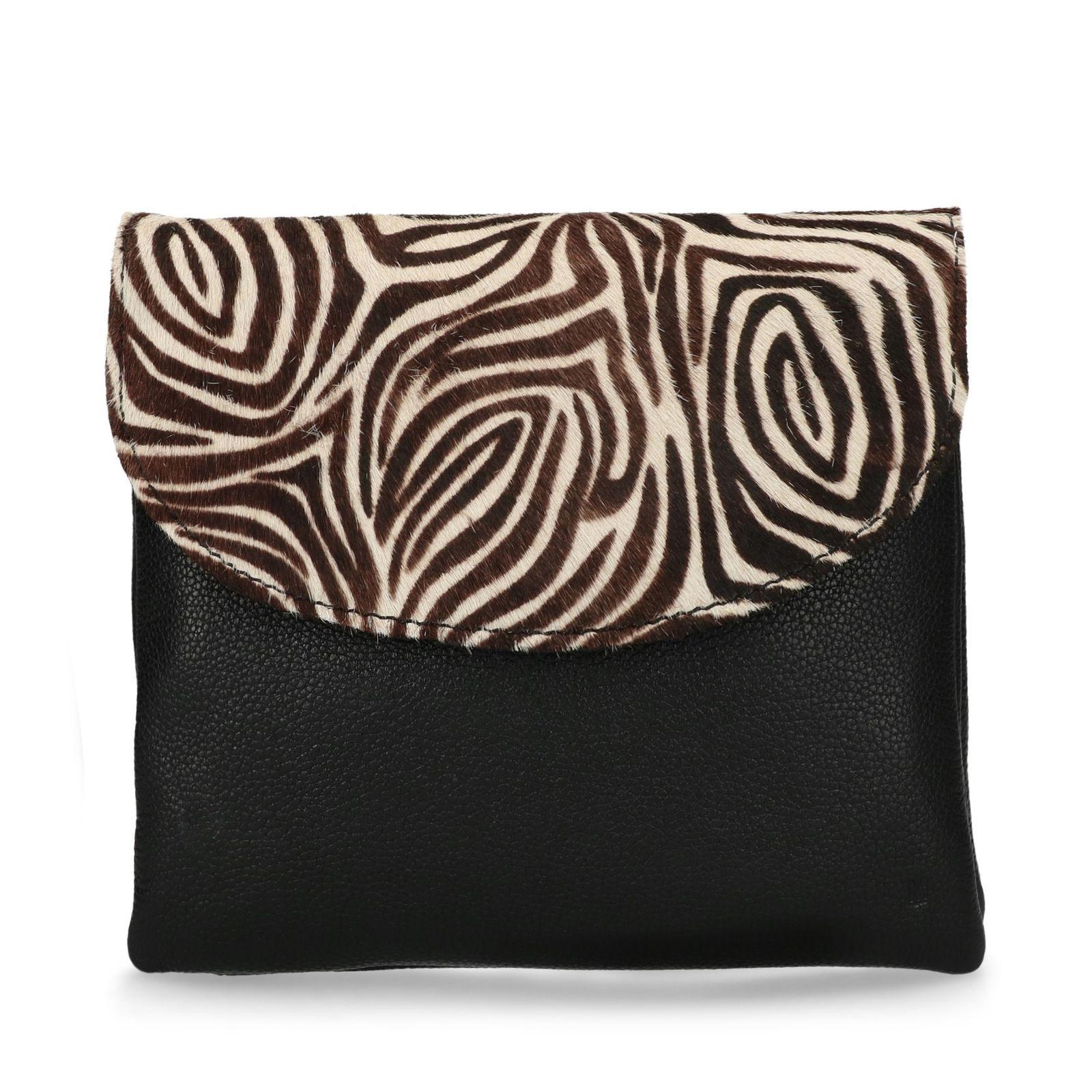 d6d5d1d69c3 Zwart schoudertasje met zebra print - Tassen   MANFIELD