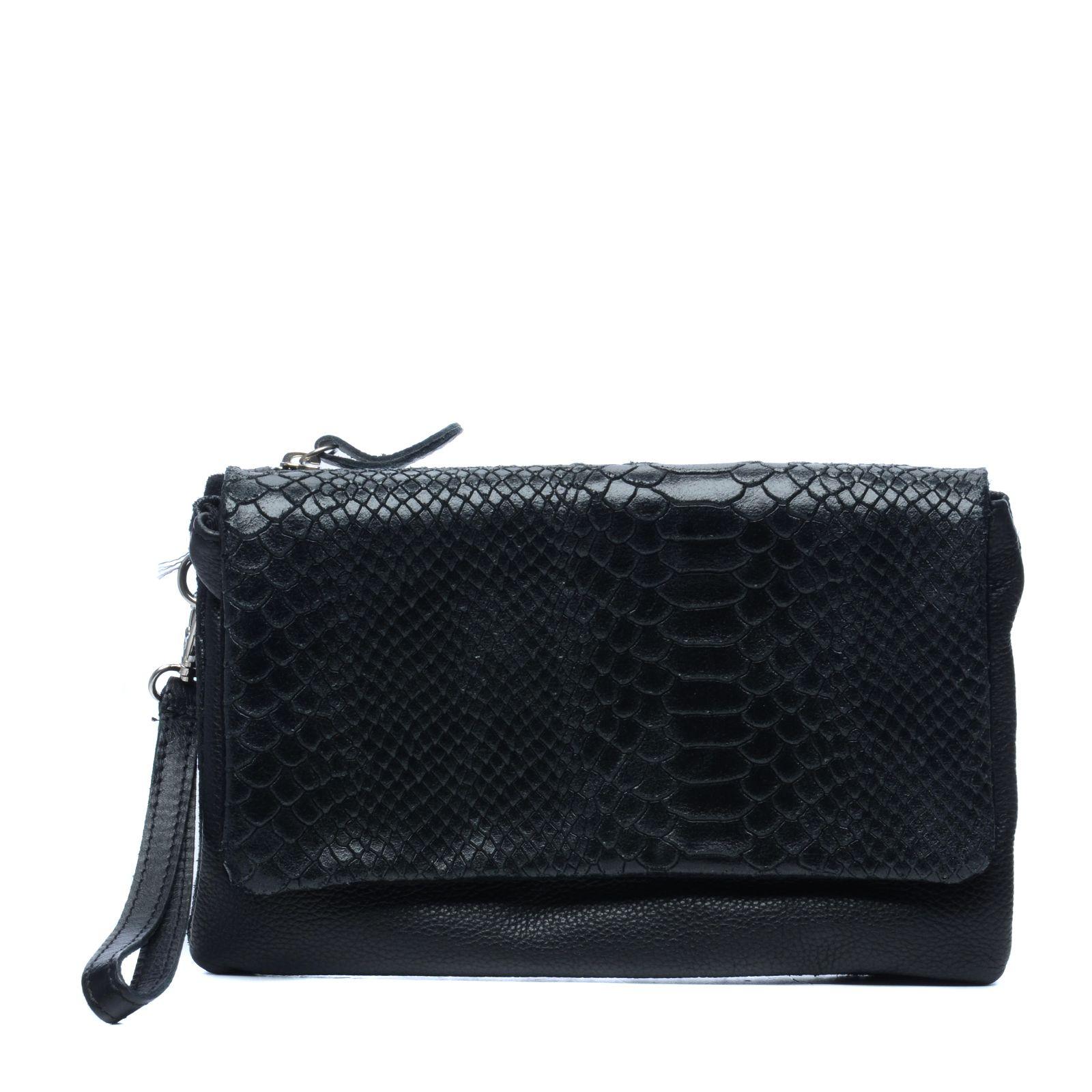 7a20ab97276 Zwart schoudertasje met snake print - Tassen | MANFIELD