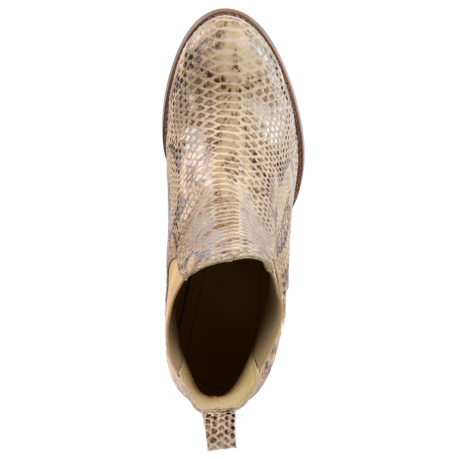 chelsea boots mit blockabsatz snake damenschuhe. Black Bedroom Furniture Sets. Home Design Ideas
