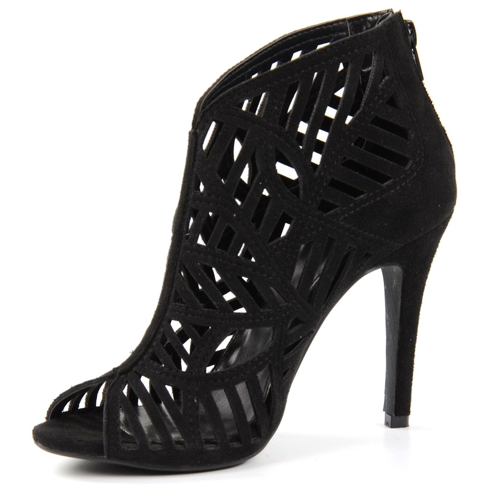 peeptoe sandalen mit absatz schwarz damenschuhe. Black Bedroom Furniture Sets. Home Design Ideas