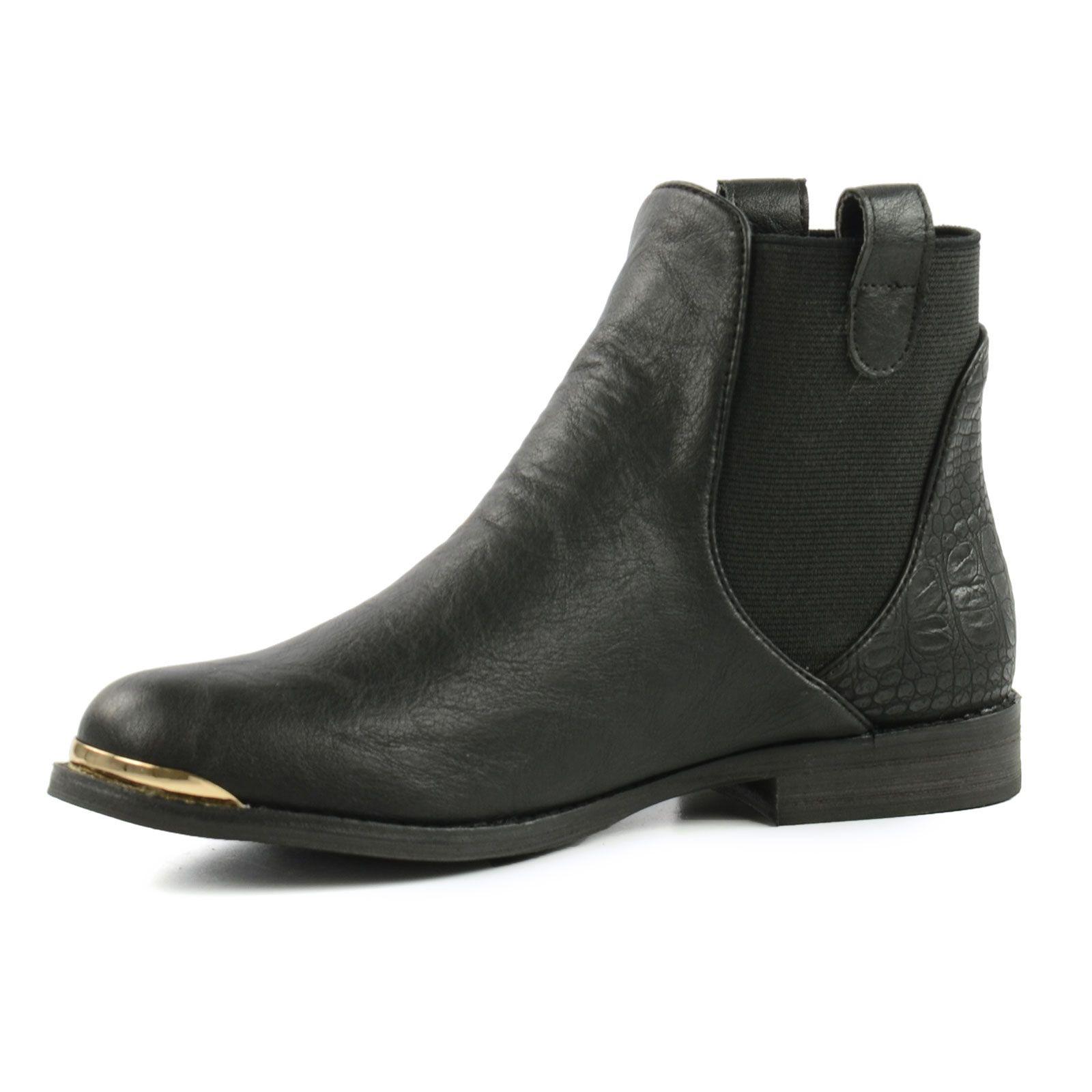 chelsea boots krokoprint schwarz damenschuhe. Black Bedroom Furniture Sets. Home Design Ideas