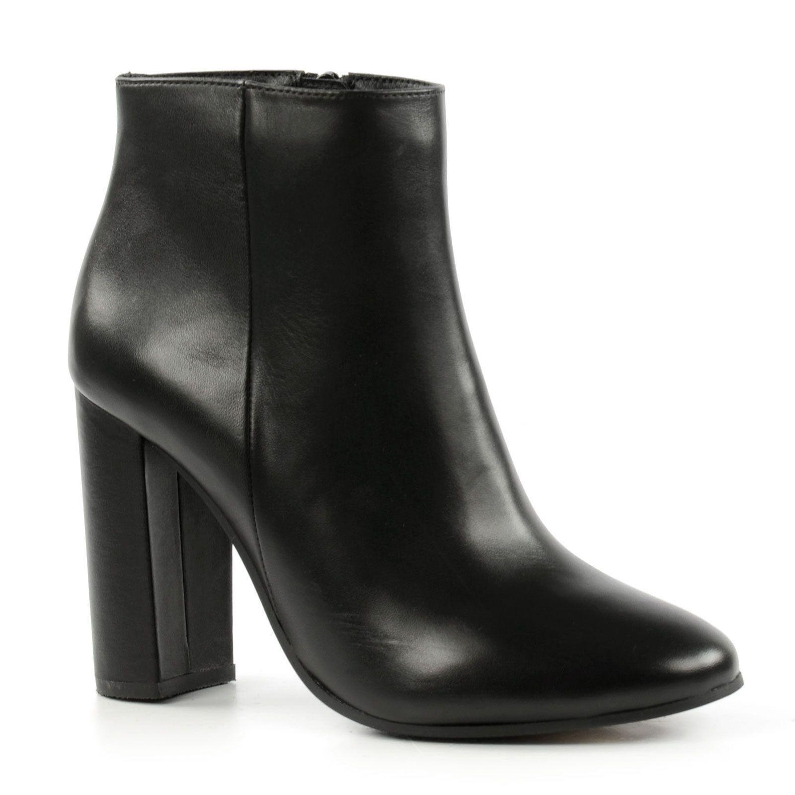 Bottines 70 en cuir noir femmes - Verlicht en cuir noir ...