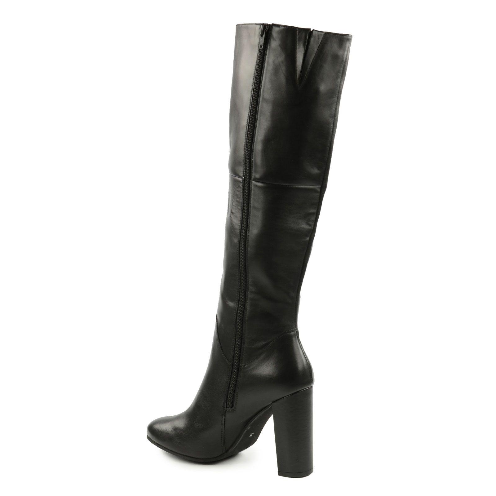Bottes hautes en cuir noir femmes - Verlicht en cuir noir ...