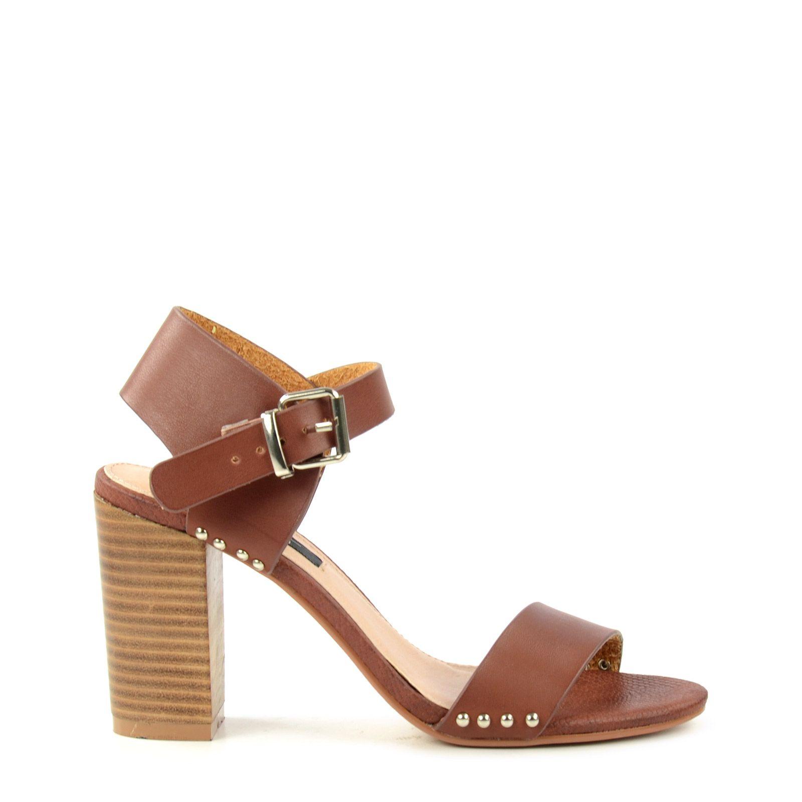 braune sandalen mit blockabsatz damenschuhe