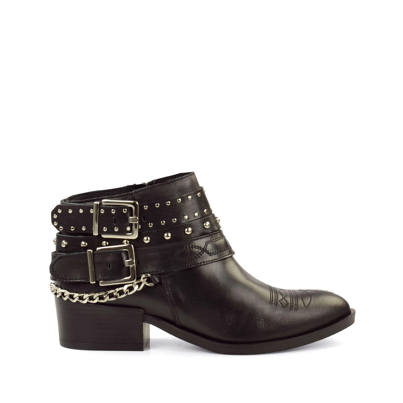 schwarze biker boots mit nieten damenschuhe