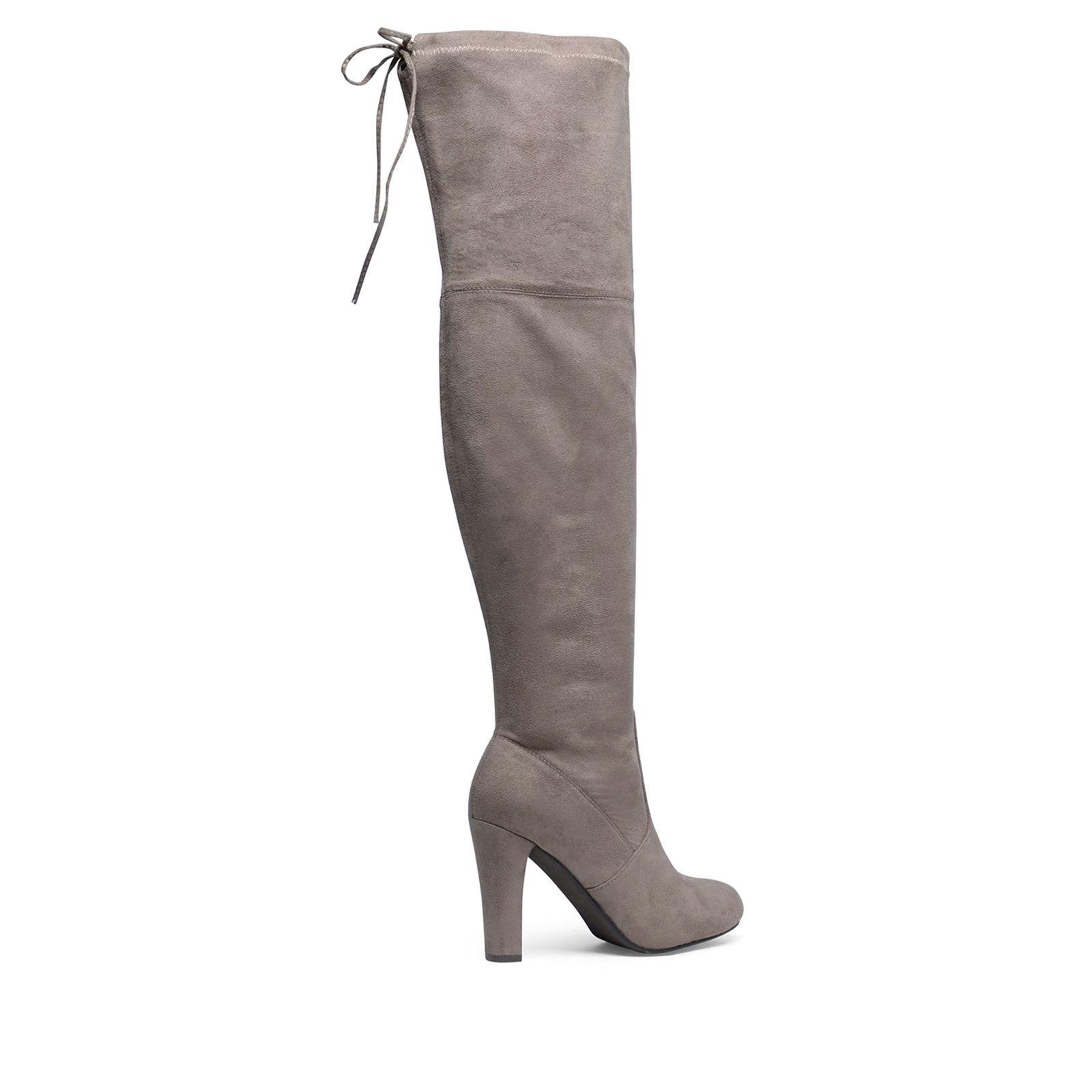 Taupefarbene Overknee Stiefel Mit Absatz Damenschuhe