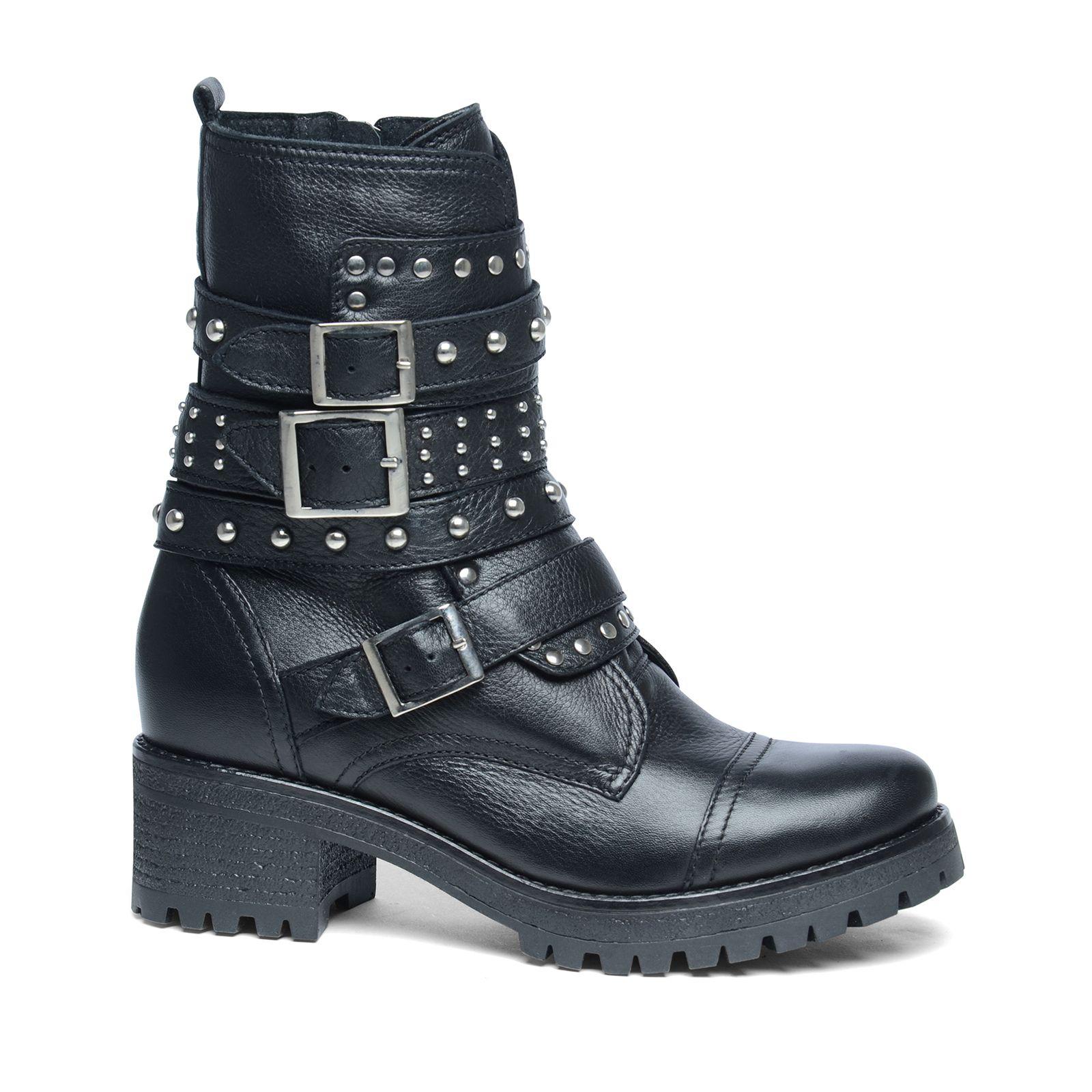 biker boots mit schnallen und nieten damenschuhe 99. Black Bedroom Furniture Sets. Home Design Ideas