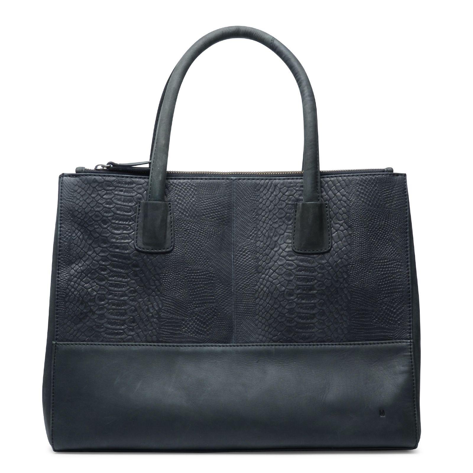 schwarze leder handtasche mit schlangenmuster. Black Bedroom Furniture Sets. Home Design Ideas