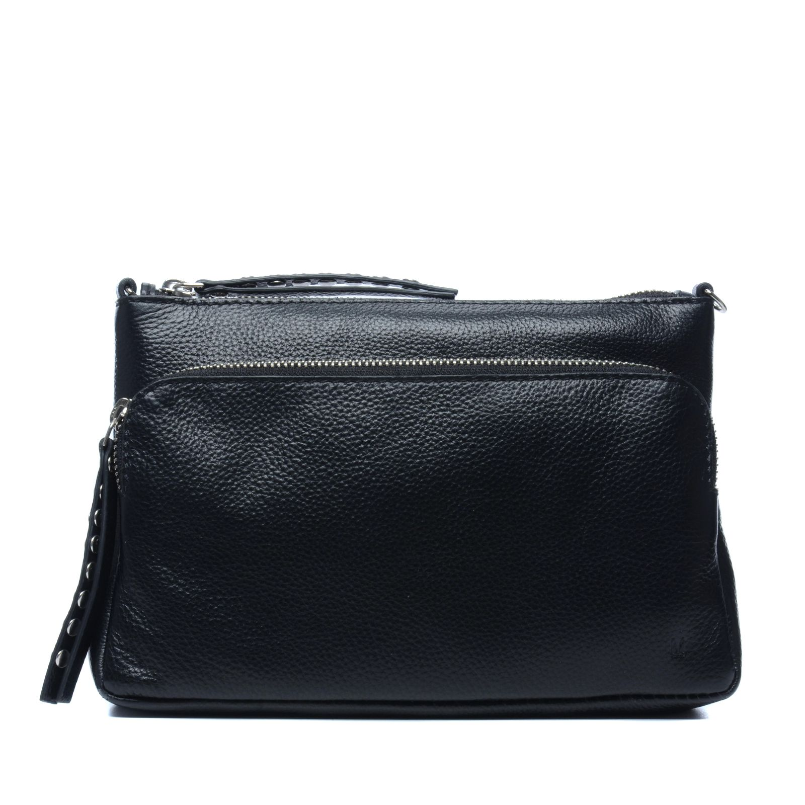 kleine schwarze schultertasche mit nieten. Black Bedroom Furniture Sets. Home Design Ideas