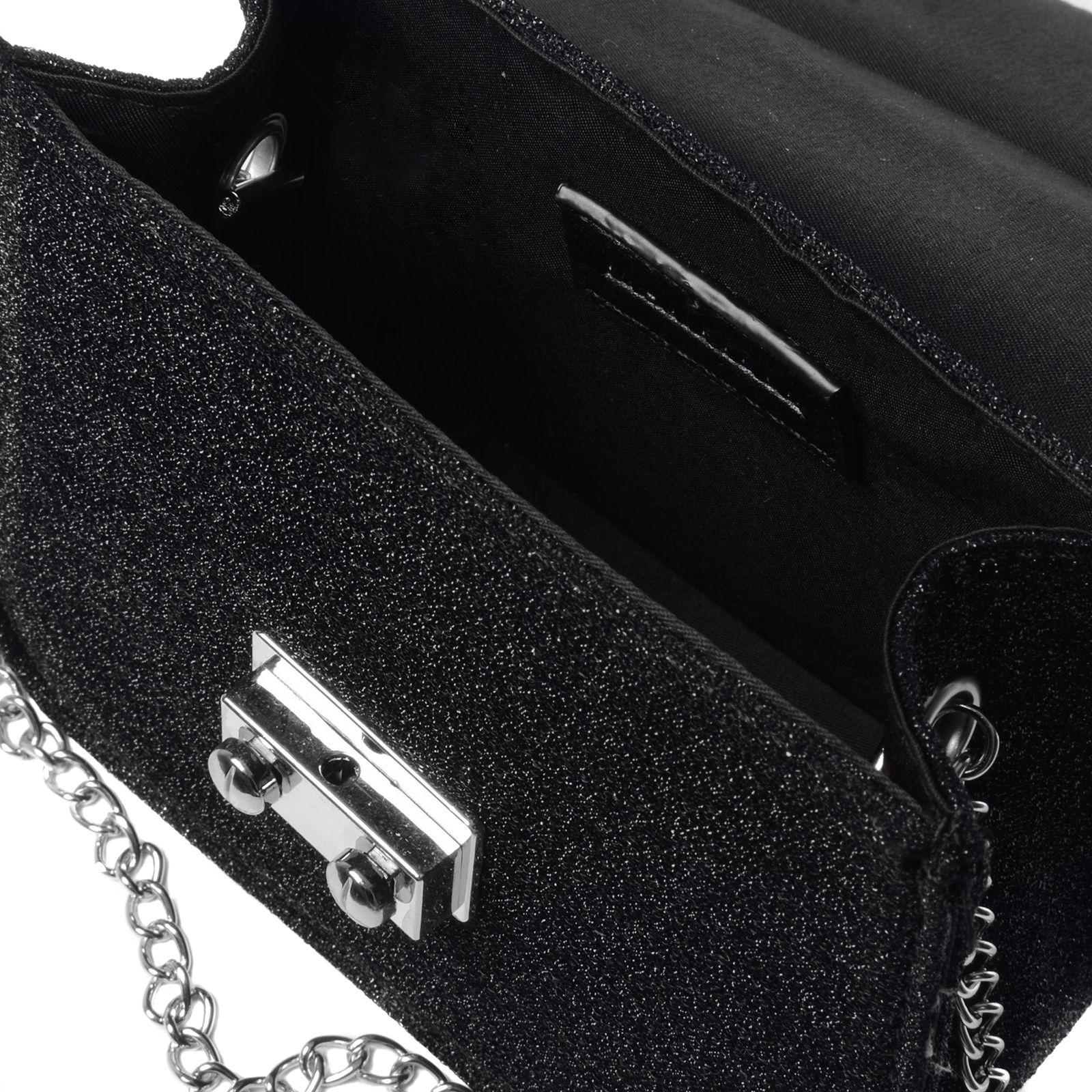 Zwart schoudertasje met franjes : Zwart schoudertasje met glitters tassen manfield