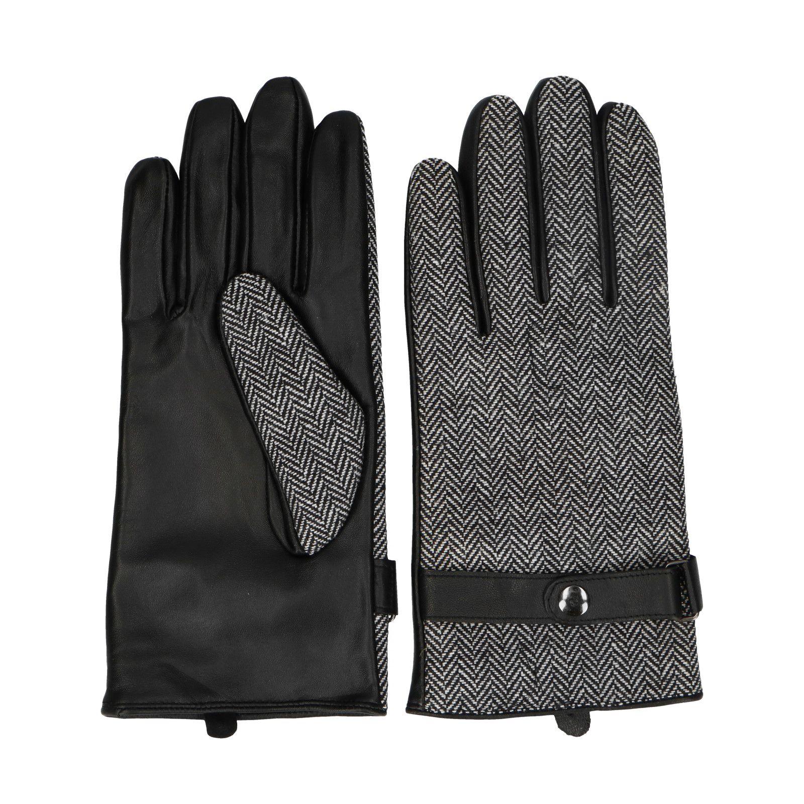 graue leder handschuhe mit fishbone muster. Black Bedroom Furniture Sets. Home Design Ideas
