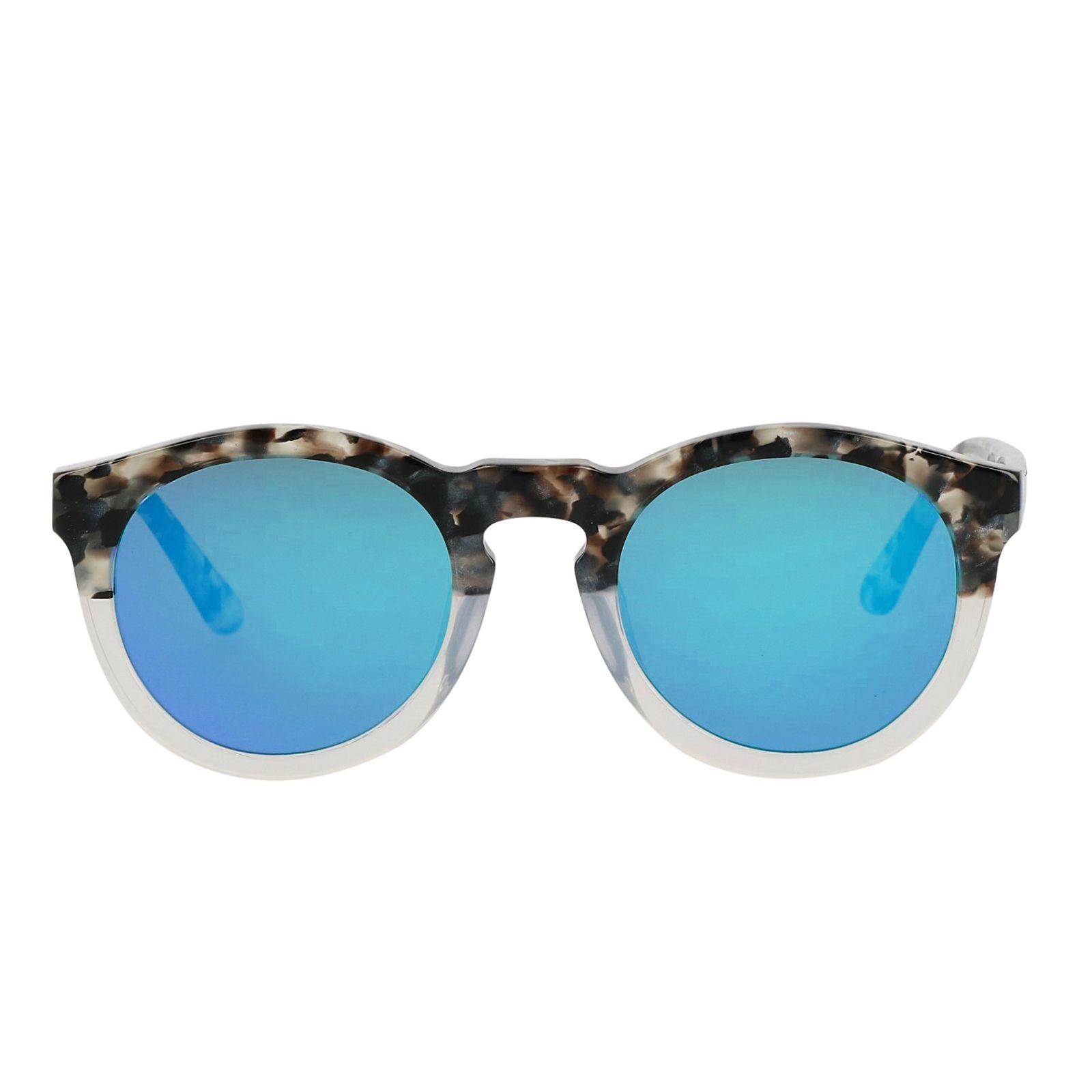 runde graue sonnenbrille mit blauen spiegelgl sern. Black Bedroom Furniture Sets. Home Design Ideas
