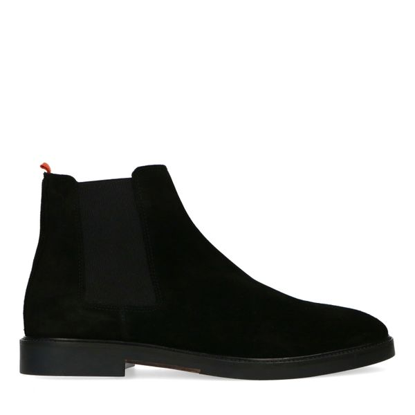 Manfield Zwarte suède chelsea boots
