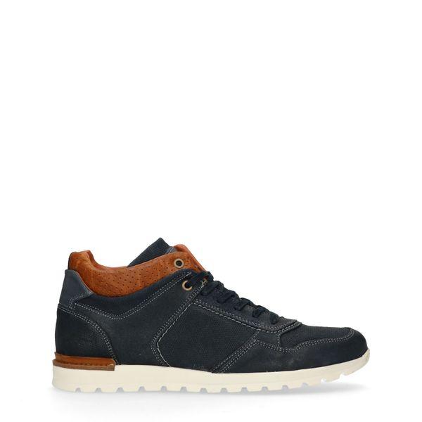 Manfield Donkerblauwe hoge sneakers