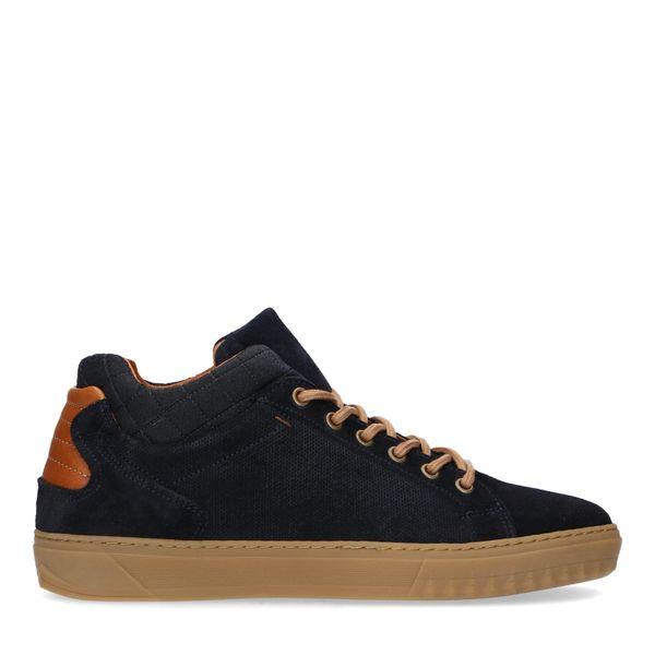 Manfield Blauwe suède hoge sneakers
