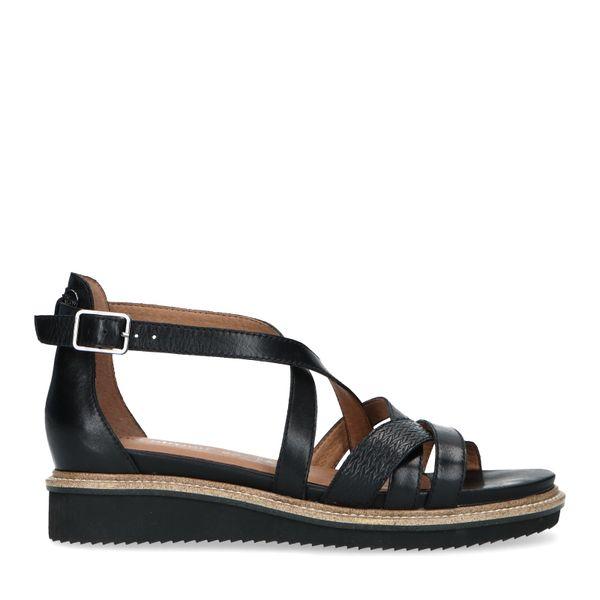 No stress Zwarte leren sandalen