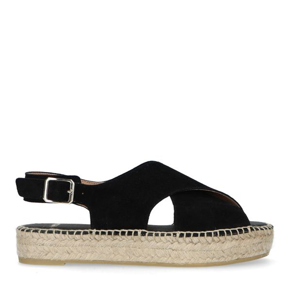 Manfield Zwarte sandalen met gekruiste banden
