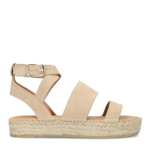 Manfield Beige sandalen met plateauzool