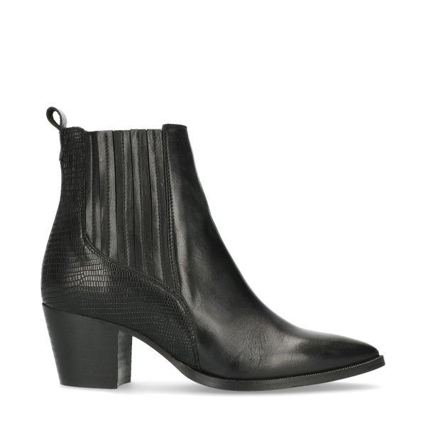Manfield Zwarte western boots met hak