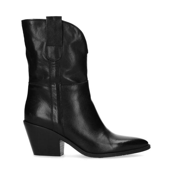 Manfield Zwarte western laarzen met hak