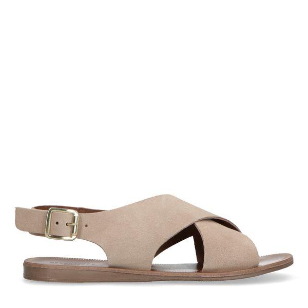 Beige suède sandalen