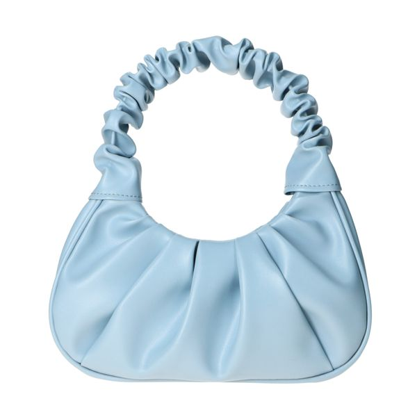Blauwe handtas met geplooide details