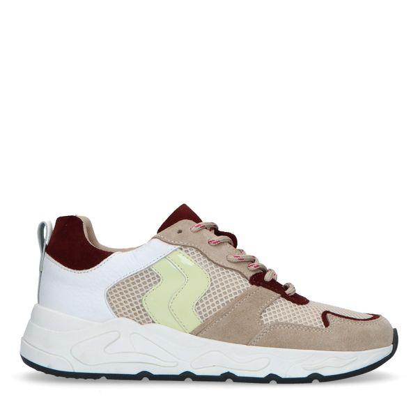 Beige suède dad sneakers met gekleurde details