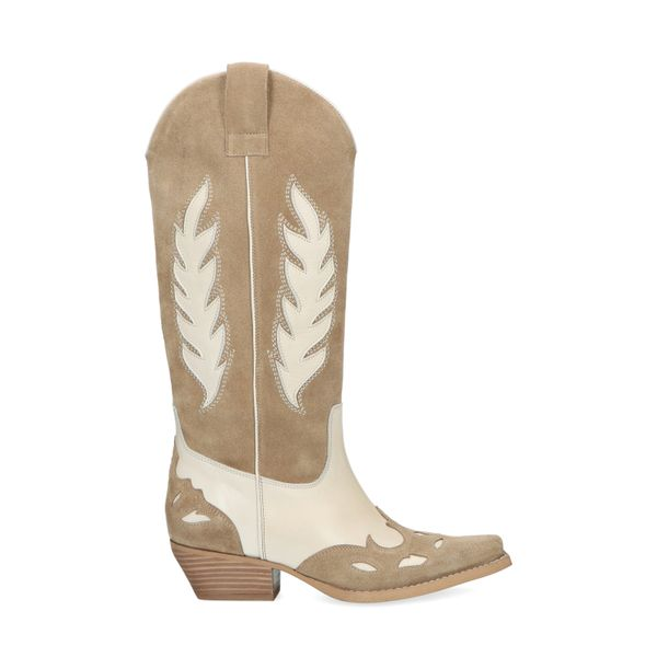 Beige western boots met off white details