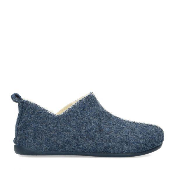 Manfield Blauwe pantoffels met wol