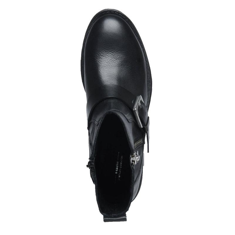 Schwarze Biker-Boots mit Schnalle