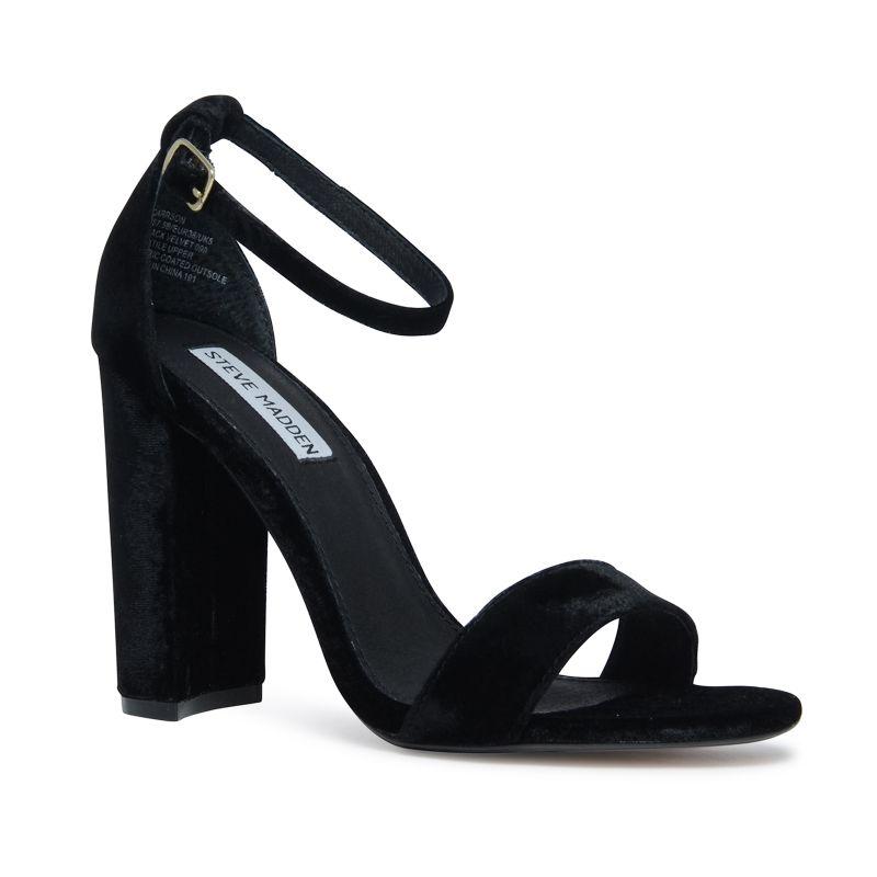 Steve Madden Carrson zwarte velvet sandalen met hak