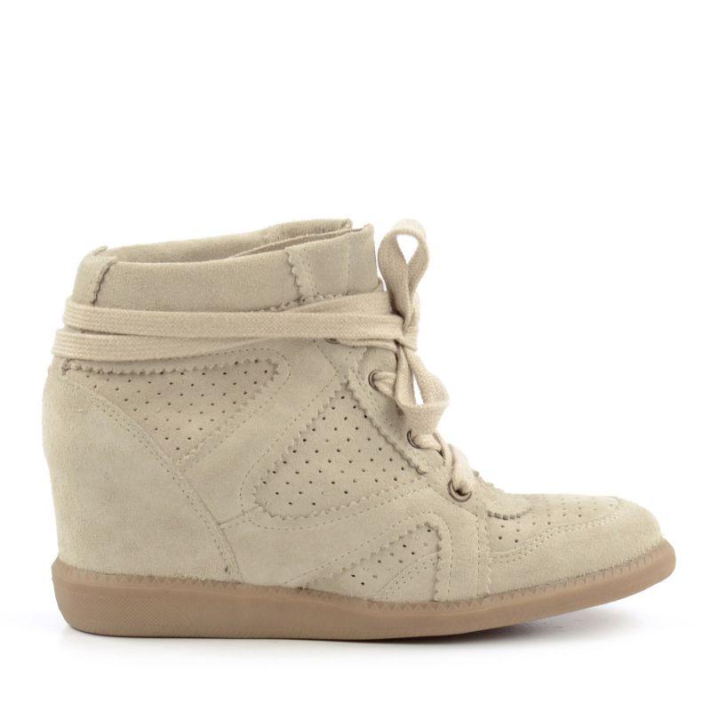 Beige Sneaker mit Keilabsatz
