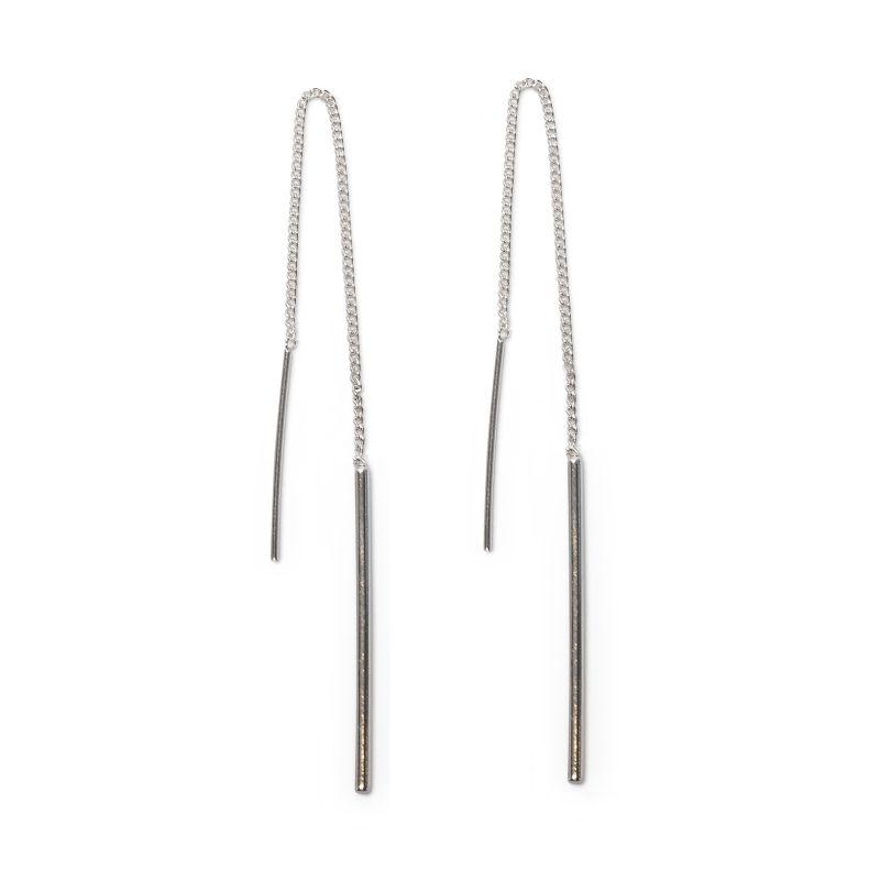 Zilveren doortrek oorbellen met staafjes