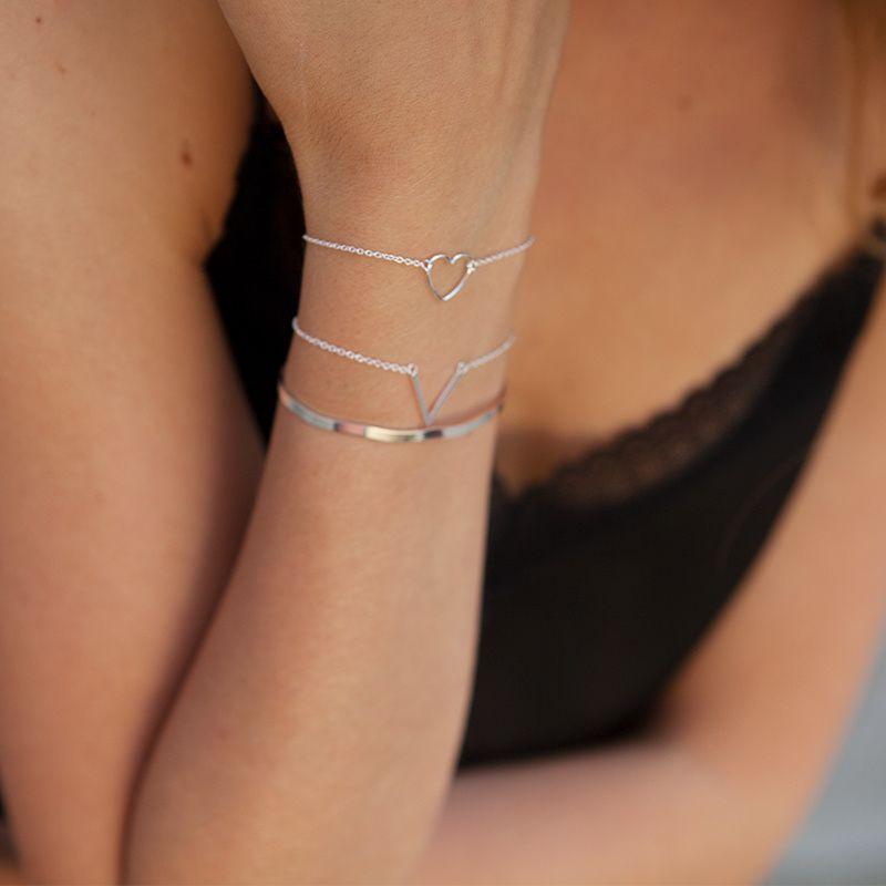 LUZ - delicate cuff armband zilver