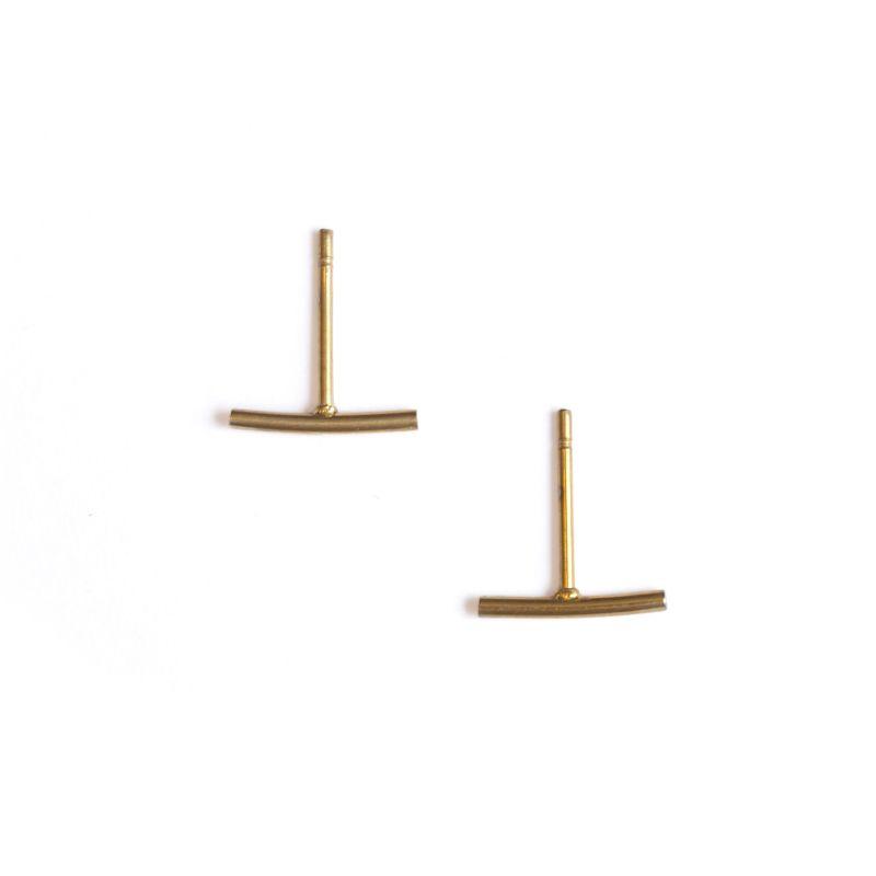 LUZ - stud oorbellen goud