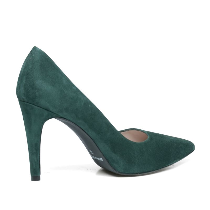 Suède pointy pumps donkergroen