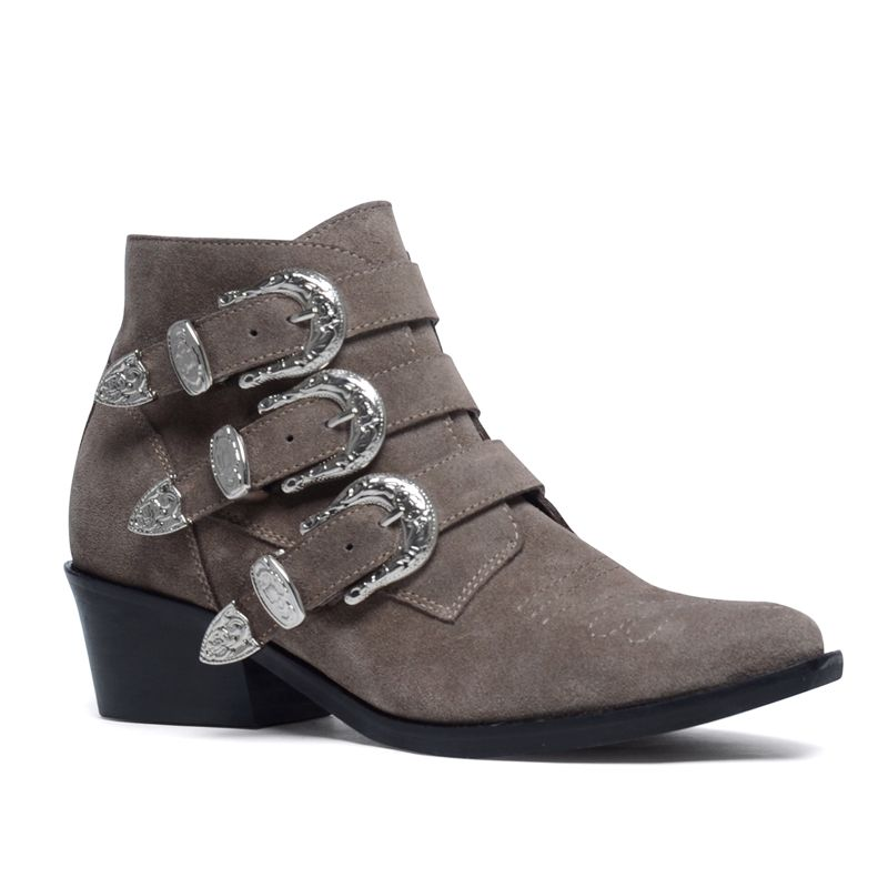 Taupe buckle boots