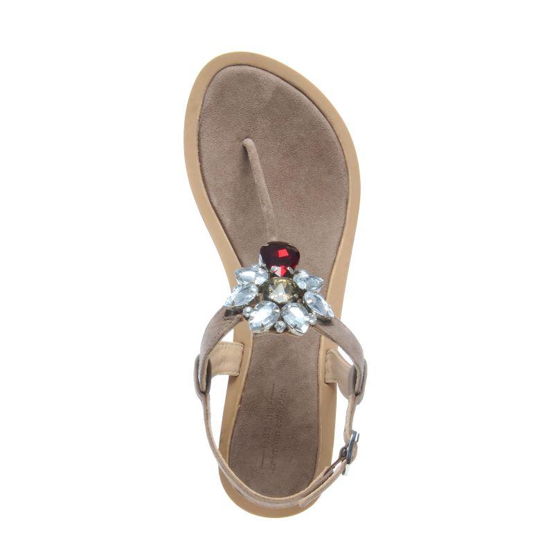 Sandales avec pierres décoratives - marron