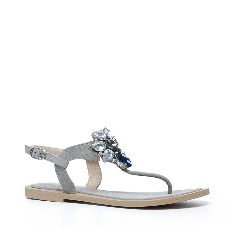 Sandales avec pierres décoratives - gris
