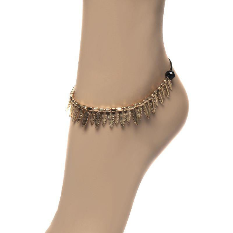 Goldfarbenes Knöchelband mit Federn